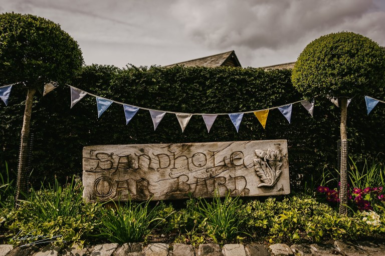 The main wedding sign at sandhole oak barn