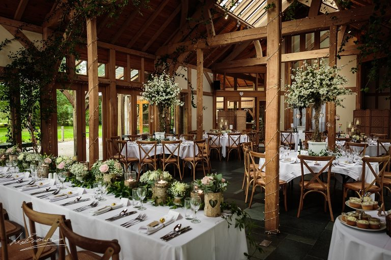 the wedding breakfast room at the oak tree of peover