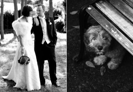 a bride and groom stood together after their wedding next to their dog